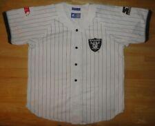 Vintage OAKLAND RAIDERS White STARTER Button Up Baseball Style Jersey Shirt XL