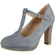 Womens T-bar Court Plarform Shoes Ladies Faux Suede Party Buckle High Heel Size UK 5 / EU 38 / US 7 Grey