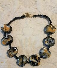 Beautiful Black And Beige Stone Costume Necklace