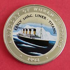 TITANIC 1998 SOMALIA 25 SHILLINGS COLOURED PROOF - a history of world shipping