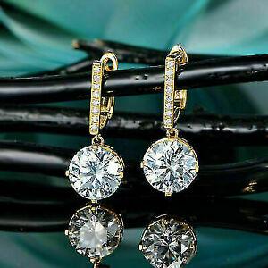 3Ct Round Cut VVS1/D Diamond Drop/Dangle Earrings In 14K Yellow Gold Finish
