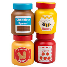 Bigjigs Toys Wooden Jars & Spreads Pretend Roleplay Play Food Playsets
