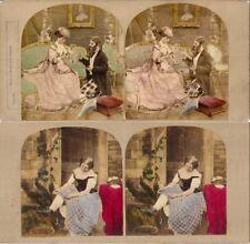 18 colorierte estéreo fotos hermosas genre alrededor de 1880, lot 10