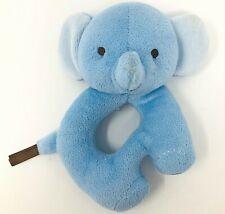 Fisher Price Blue Elephant Plush Snugamonkey Ring Rattle Toy Lovey Teether