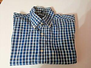 Ben Green Mens Blue Check Long Sleeve Button Down Collar Cotton Shirt UK Large