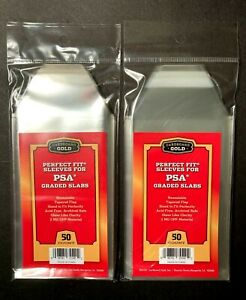 PSA Perfect Fit Sleeves 100  Card  Supplies Graded Card Slabs Cardboard Gold