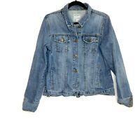 VTG Old Navy Womens Blue Button Front Slash Pocket Denim Jean Jacket Size XL