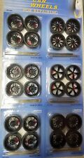 BLACK REPLACEMENT WHEELS & TIRES SET RIMS FOR 1/18 SCALE CARS AND TRUCKS 2004B