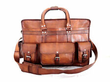 Brown Large Mens Leather Vintage Duffel Luggage Weekend Gym Overnight Travel Bag