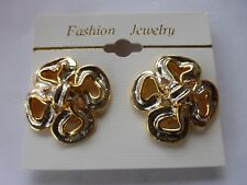 Vtg At Deco Gold  Silver Metal Celtic Clover Knot Clip On Earrings NOS