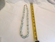 1980's era Blue Tinged Shells w Small Goldtoned Balls Neckace with Hook Closure