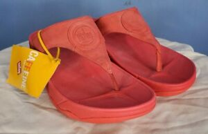 NWT FitFlop Womens Size 9 Red Suede Thong Sandal Wedge