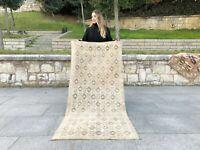 Neutral Turkish Antique Rug Lowpile Wool Oushak Rug Anatolian Decorative Design