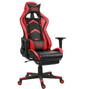 Deluxe Red Leather Office/Gaming Chair -Racing Chair w/ Footrest V1