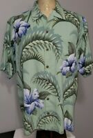Tommy Bahama Mens Hawaiian Hibiscus Palm Frond Silk Camp Shirt Large