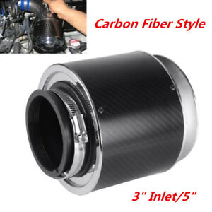 "New 3""Inlet/5"" Carbon Fiber Style Hi-Flow Air Filter For Car Cold Air Ram Intake"