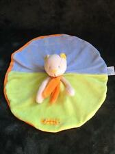 450-Doudou plat rond Ours Chat nestor et capucine - MOULIN ROTY - Comme neuf