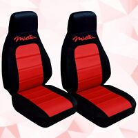 Fits 1990-1998 Mazda Miata  front set car seat covers  black-red with design