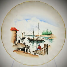 W.S. George By Philippe Hand Painted Collector Plate Fisherman Boat Vintage