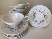 Vintage Boontonware Melmac Melamine Pink Roses & Baby's Breath 6 Cups & Saucers