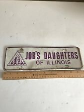 Car Club Small License Plate , Job's Daughters of Illionios. Very Rare