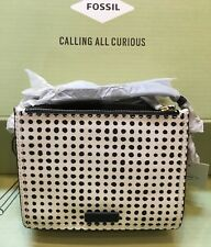 New with Tags  Fossil CAMPBELL CROSSBODY Purse Handbag Black White Dots w/ Key