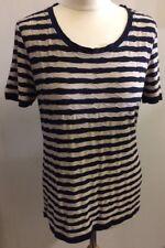 Per Una M&S Ladies Blue And Beige Striped Top Size 12 Textured Stretch Breton
