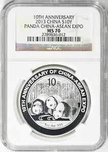 China 2013 10 Yuan Silver Panda China-Asean Expo 10th Anniversary NGC MS-70