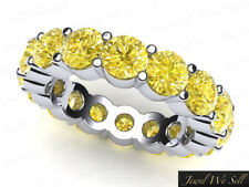3.40Ct Yellow Diamond Shared Prong Eternity Anniversary Band Ring 18k Gold SI2