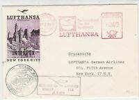 Germany 1959 Lufthansa Slogans Interpex Germany-USA Flight Stamps Cover Rf 25912