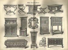 1888 MÖBEL Kunsttischlerei Original alter Druck Antique Print Litho Furniture