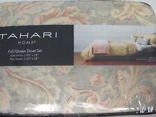 New TAHARI 3pc Linen Cotton Beige Sage Orange Floral Duvet Set - Full/Queen