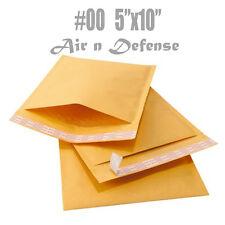 1000 #00 5 x 10 KRAFT BUBBLE PADDED ENVELOPES MAILERS BAG SELF SEAL AirnDefense