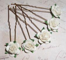 Ivory Rose Hair Pins,Hair Flowers,Wedding,Prom,Festival,Bridesmaid,Boho,Vintage