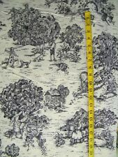 EARLY AMERICAN TOILE PRINT BROWN ON TAN 100% COTTON FABRIC BY THE 1/2 YARD