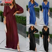 Sexy Women's Long Sleeve Maxi Dress Ladies V Neck Split Backless Party Dresses
