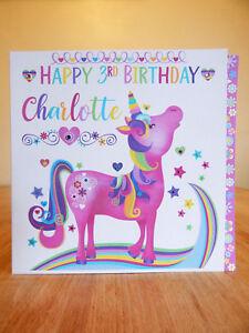 Unicorn special birthday card personalised Unicorn BIRTHDAY GIRL CARD