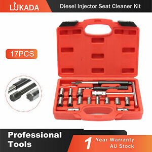 17pcs Diesel Injector Seat Cutter Set Remove Tools Cleaner Tool Set  Carbon Kit