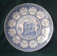MASONS IRONSTONE CHINA CALENDAR PLATE CASTLE KEEP RINGTONS 1988 BLUE & WHITE
