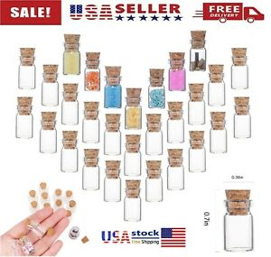 20Pcs Mini Small Cork Stopper Glass Vial Empty Jars Containers Bottle 0.5ML US