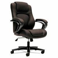 Basyx VL402 Series Executive High-Back Chair, Brown Vinyl (BSXVL402EN45)