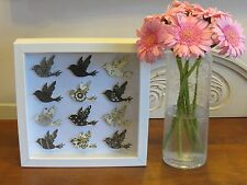 Handmade wall hanging picture shabby chic black & ivory BIRDS in 3d box frame