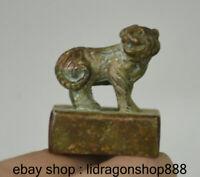 3CM Chine Antique Bronze Dynastie Royale Tigre Sceau Sceau Animal