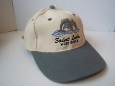Saint Lucia West Indies Dolphin Hat Beige Gray Strapback Baseball Cap