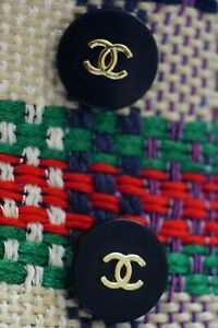 STAMPED VINTAGE CHANEL BUTTONS SET  OF 2 TWO BLACK