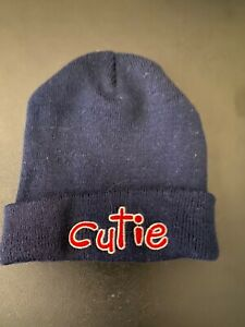 CUTIE children's USED beanie hat cold weather cute navy blue