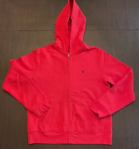 Polo Ralph Lauren Boys Girls Zip-Up Hoodie, Red, Large 14/16 Mint Condition