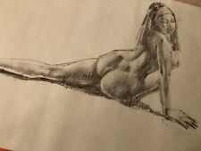 Original Vintage drawing sketch painting Nude Woman Stretching Figure Female