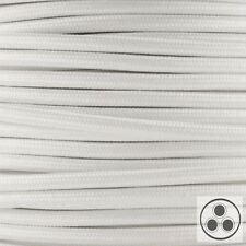 Textilkabel Stoffkabel Lampen-Kabel Stromkabel Elektrokabel Weis 3 adrig