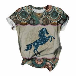 JAYCEE HORSE & WESTERN WOMENS  MANDALA HORSE PRINT TEE SHIRT LGE